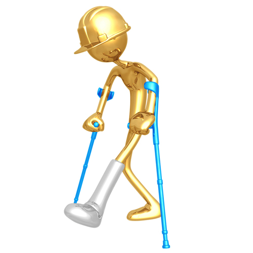 Injured Worker on Crutches